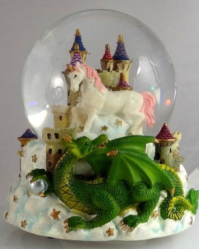 Green Dragon Clutching Crystal With Mystic White Unicorn And Castle In The Clouds Snow Globe Sculptured Resin Water Ball Music Box 5 3 4 High Christmas Orn Snow Globes Green Dragon Unicorn Snow Globe