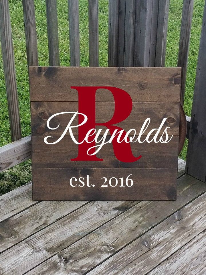Wooden Name Sign Rustic Last Name Sign Gift For
