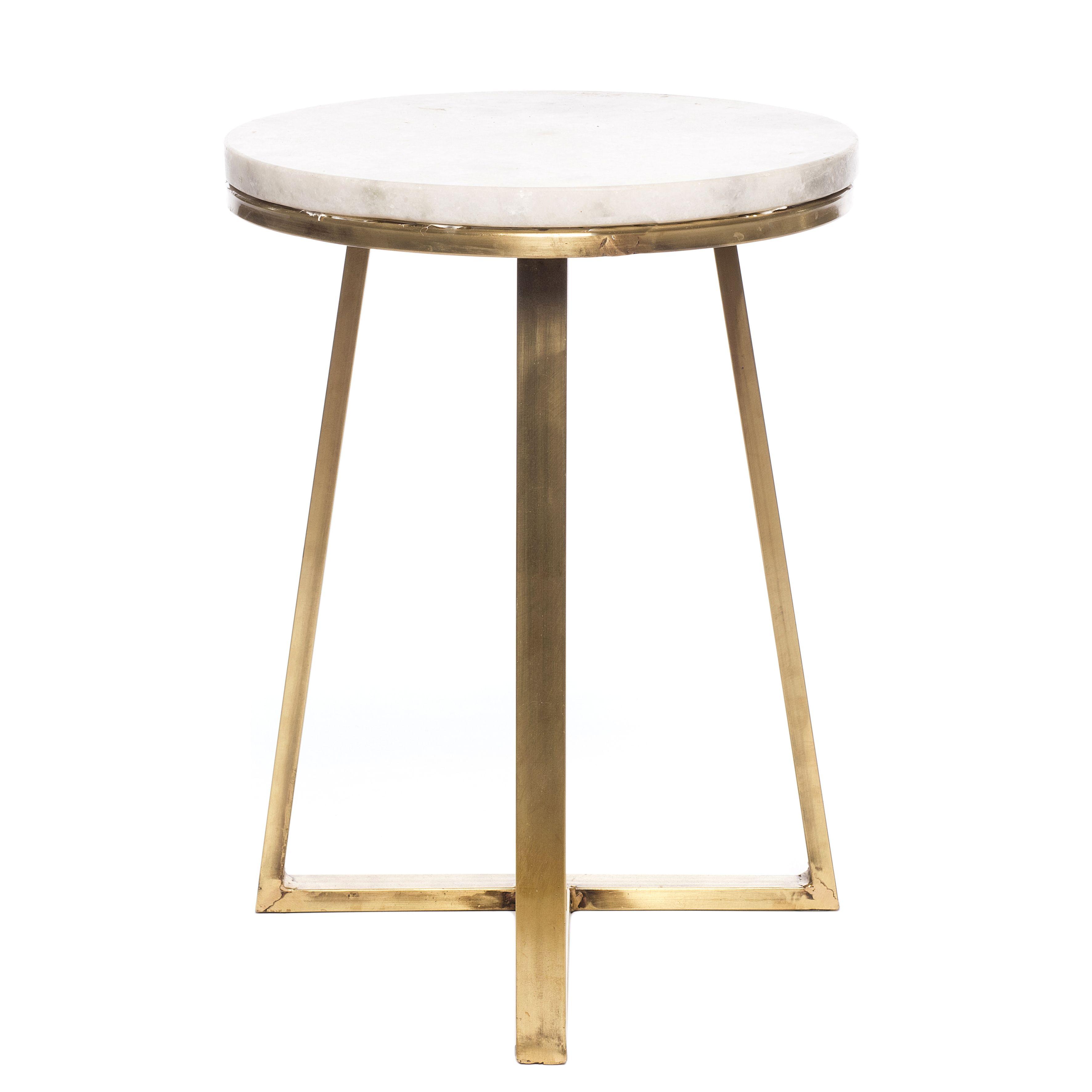 Table H Et H bijzettafel marmer d 37 h 45 cm wit/goud 59.99 | wit goud