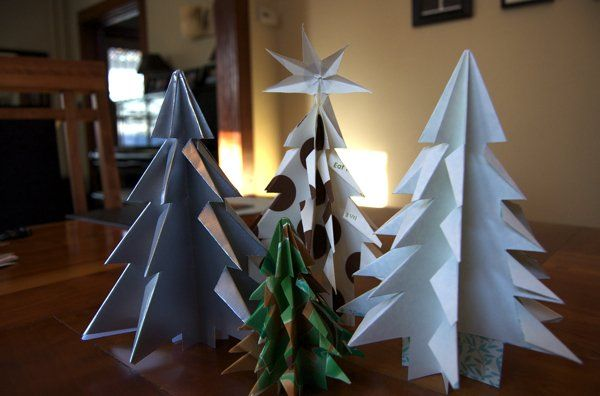 How to Make Folded Paper (Kirigami) Christmas Trees Kirigami - decorative christmas trees