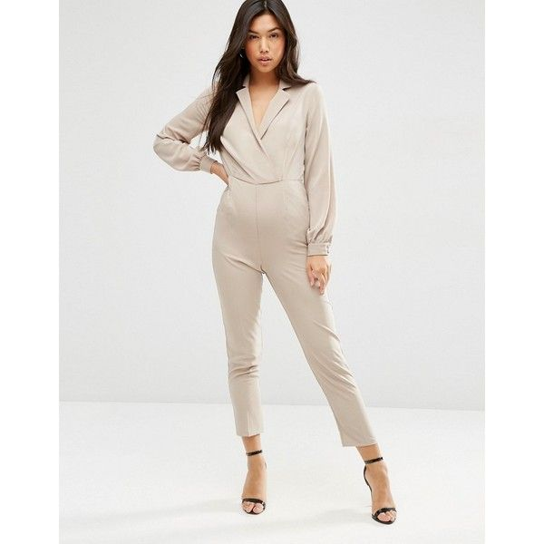 bb35f5a62053 ASOS Long Sleeve Jumpsuit with Collar and Wrap Front ( 24) ❤ liked on  Polyvore featuring jumpsuits
