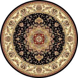 safavieh lyndhurst traditional oriental black/ ivory rug (7' round