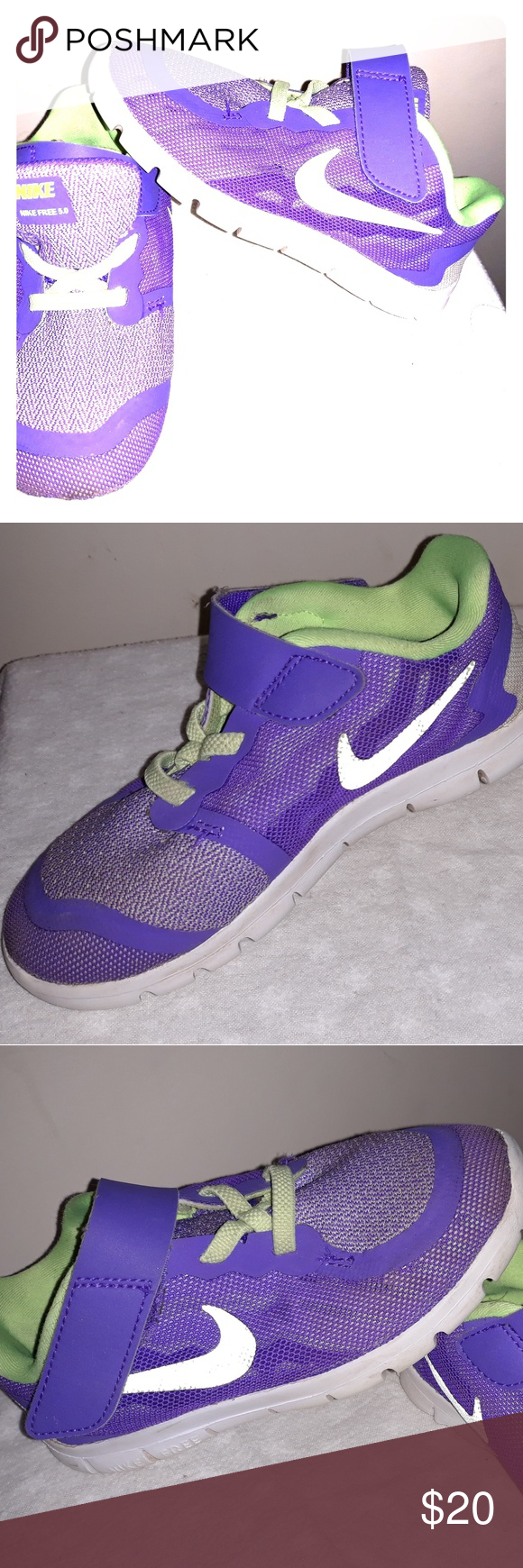 4dc6751caf7ec7 Kids Nike Gym Shoes Free 5.0 Nike Free 5.0 Purple with neon green swoosh.  Great condition. Soft flexible material. Very comfortable. Nike Shoes  Sneakers