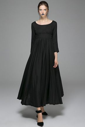 Vintage Style Black Linen Empire Waist Maxi Dress, Spring Women Short sleeve Swing dress, Womens Plus size pleated fit and flare dress 1723#