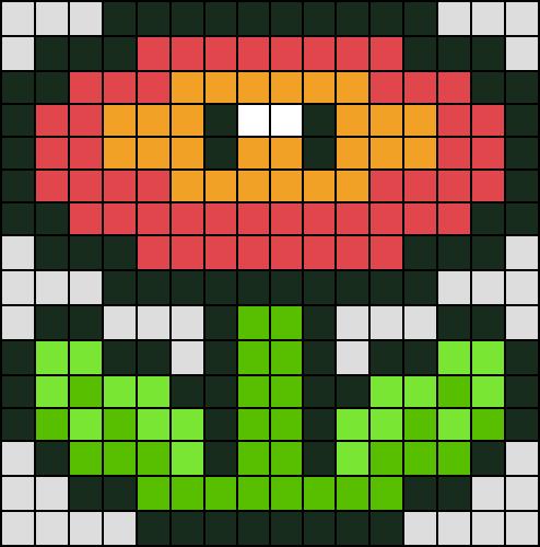 Fleur De Feu Super Mario En Perle Hama Mini Pixel Art