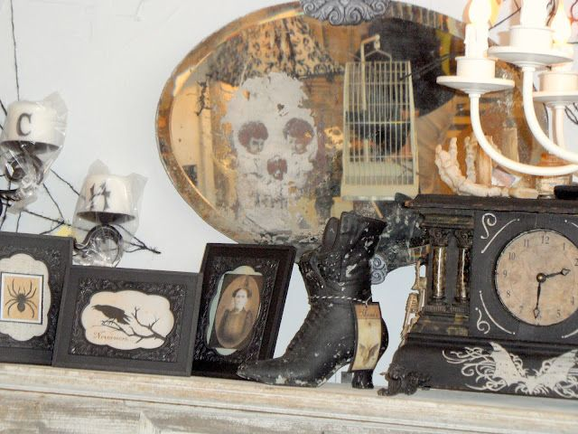 Fab Ghost in Mirror! Seen here Shabby French Cottage Black  White - halloween decor images