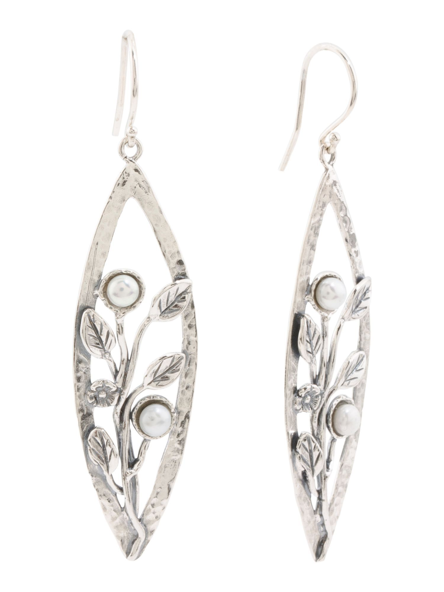 127dadd8c Made In Israel Sterling Silver Pearl Leaf Earrings | Products ...