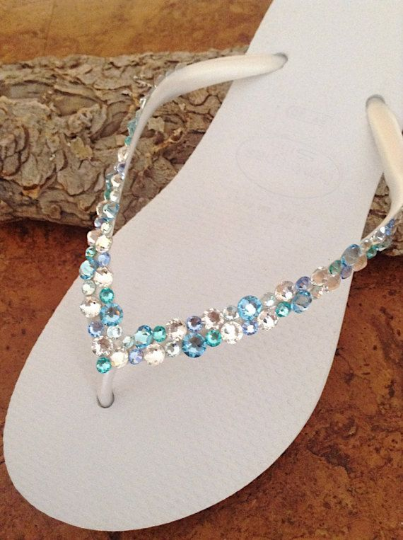 22b083be11532 White Blue Aqua Crystal Flip Flops Havaianas Slim Custom w ...
