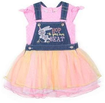 6ba4a1ff04 Little Lass Easter Bunny Denim Glittler Tulle Skirtall and Tee, 2-Piece  Outfit Set (Little Girls)