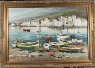 HERE'S ANOTHER BEAUTY FROM OUR LYNN WINANS COLLECTION THIS WEEK. FEATURING A MEDITERRANEAN SEASIDE TOWN WITH ROWBOATS IN THE FOREGROUND. THIS OIL ON BOARD IS A WONDERFULLY COLLECTIVE WORK OF ART. IT MEASURES 42X30 INCHES AND IS IN FINE CONDITION.