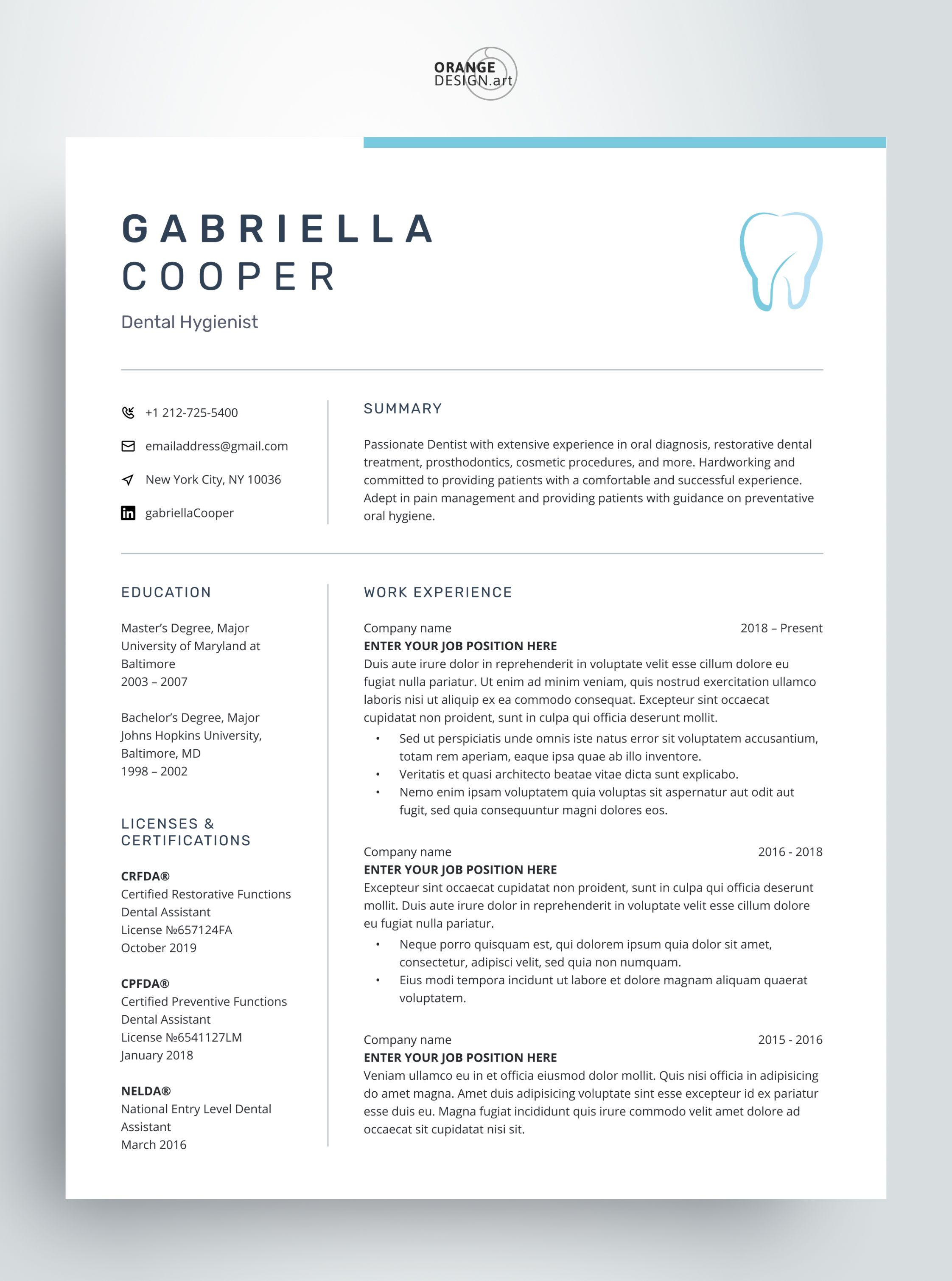 Medical Cv Template For Word Modern Resume Template Dentist Etsy Microsoft Word Resume Template Modern Resume Template Cv Template