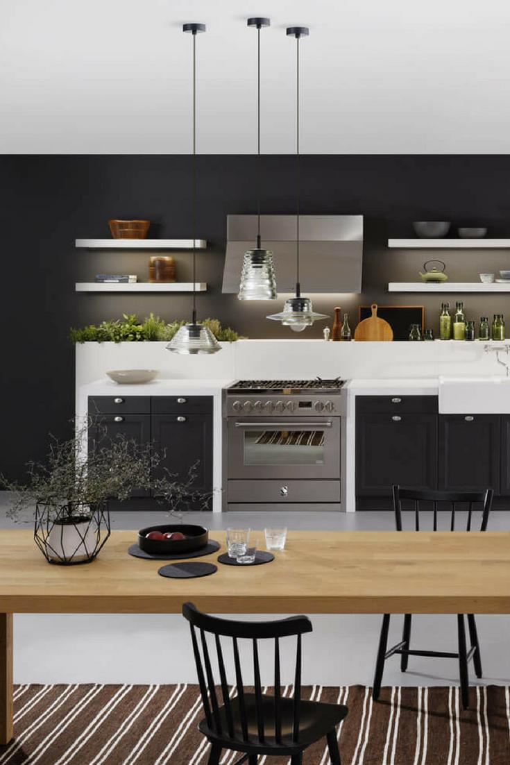 schwarze designer k che moderne k che im skandinavischen stil pinterest. Black Bedroom Furniture Sets. Home Design Ideas