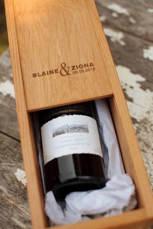 Personalized Wine Box Wedding Wood Anniversary Gift