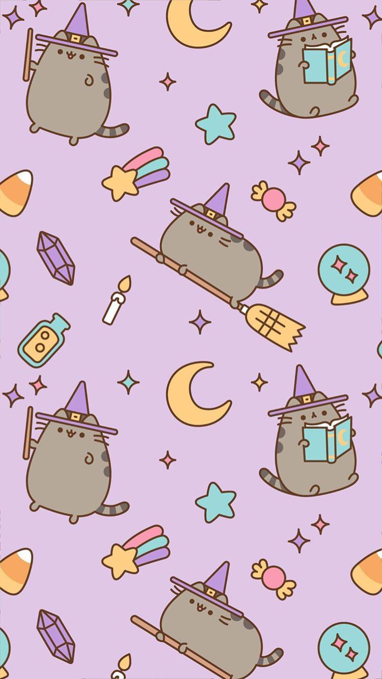 From Pusheen Ig Witch Wallpaper Halloween Wallpaper Iphone Cat Wallpaper