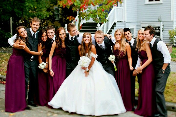 b7d864857e8 Wedding party color scheme! Burgundy dresses   dark gray suits!! Absolutely  looooove this