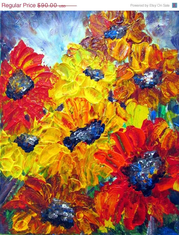 Black Friday Sale 40 off Oil Painting SUNFLOWERS by LUIZAVIZOLI, $54.00