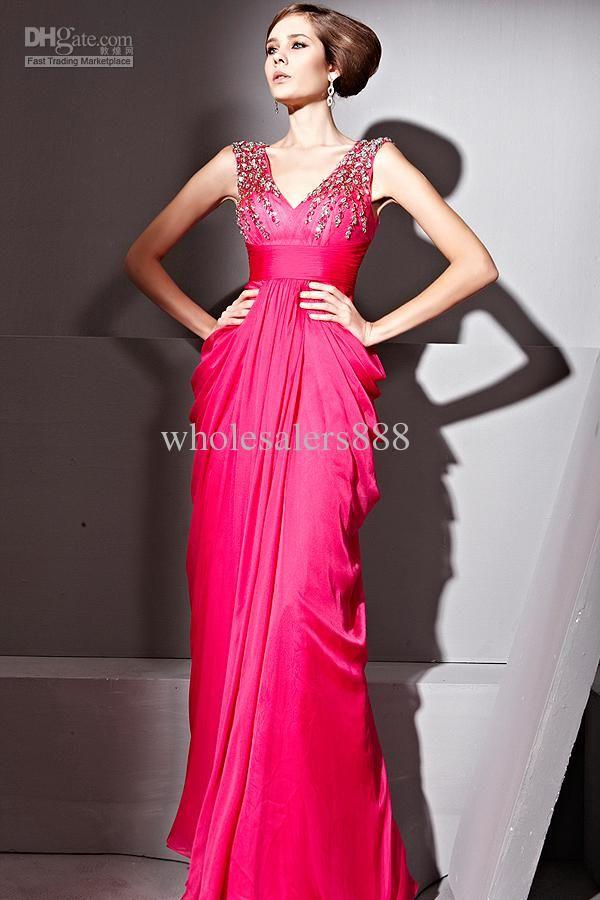 Custom Design A-line V neck Beads Bridesmaid dresses Prom/Evening ...