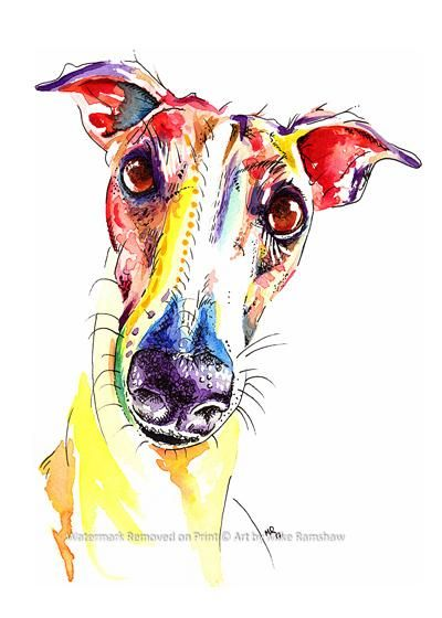 Mounting Options Greyhound Whippet Lurcher art print gifts gift painting poster