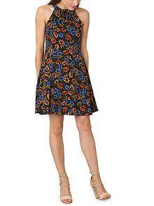 Pleated Collar Skater Dress