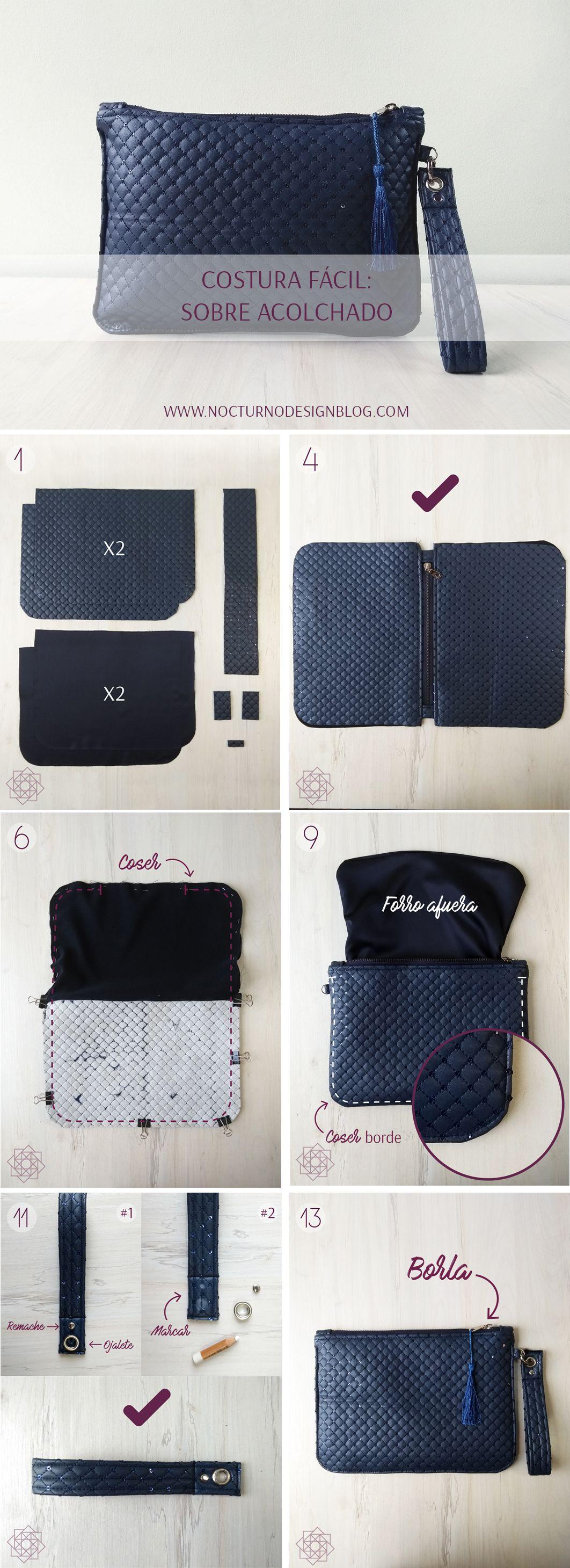 Costura fácil paso a paso. Aprende a coser. Coser bolsos. Molde ...
