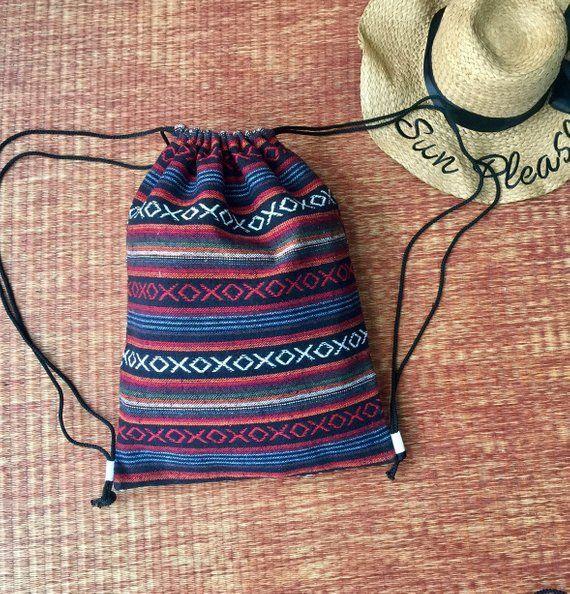162aee93cd6faf Aztec Boho Drawstring Backpack Sling Bag Woven Hippie Festival Tribal  Rucksack Bucket handmade Beach Tote Nepali bag Gift for Men Women chic