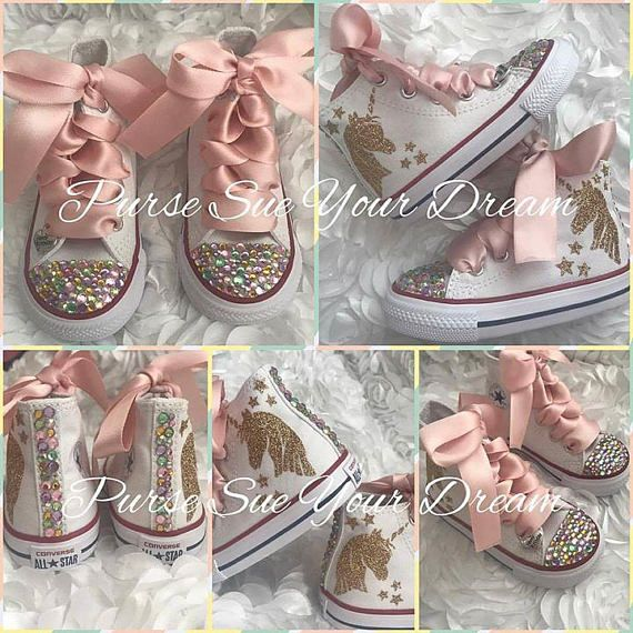 d4946cecf168 Unicorn Converse Shoes - Unicorn Birthday - Swarovski Crystal Converse -  Rainbow Unicorn Birthday Sh