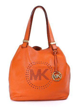 be4d0d6a63f8 Michael Kors Leather Perforated Large Grab Shoulder Bag Tangerine Michael  Kors.  279.99