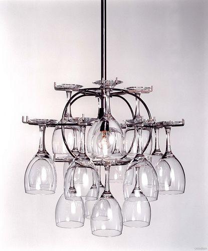 light wine rack. | Wine glass chandelier, Glass chandelier ...