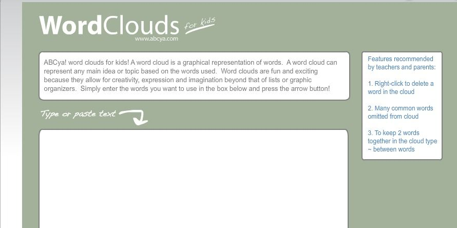 Word Clouds for Kids-use to make a cloud for book characters, genres, etc. Super easy.