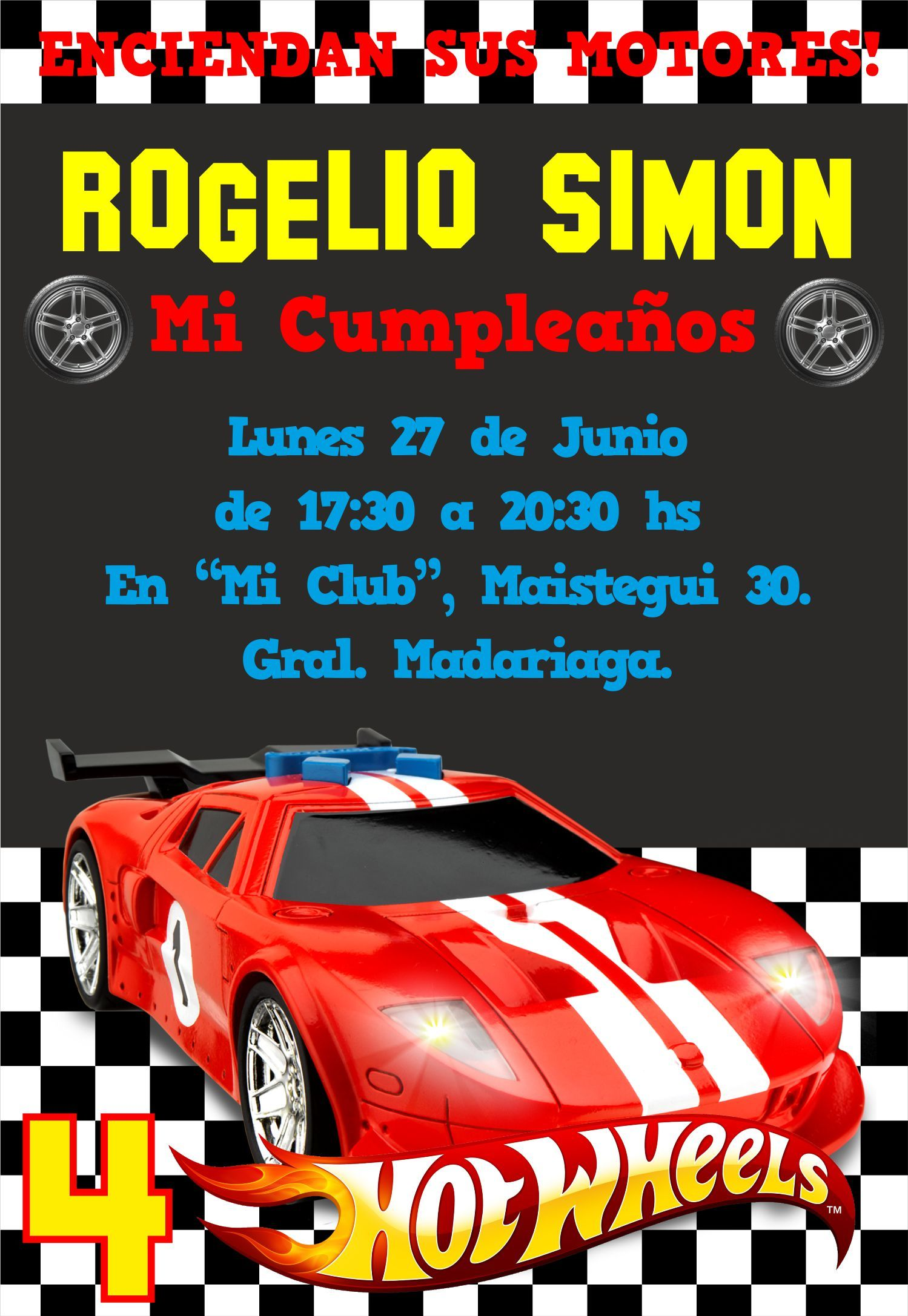 Invitación Hot Wheels Cumpleaños De Hot Wheels