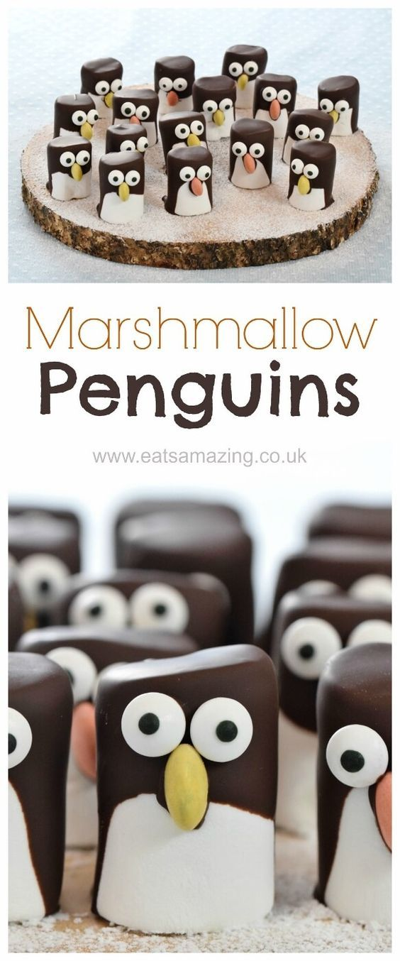 Christmas Party Food Ideas For Kids Part - 39: Easy Marshmallow Penguins - A Super Cute Treat For Christmas Party Food Or  To Give As