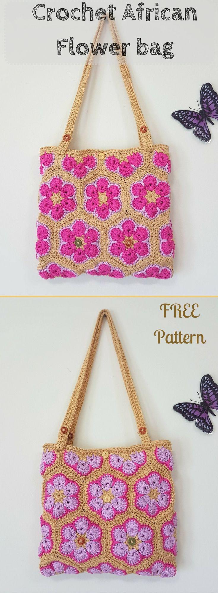 Reversible Crochet African Flower Bag Free Pattern Bolsos De