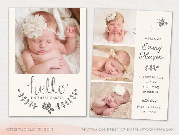 Birth Announcement Template CB031 by OtoStudio on Creative Market - birth announcement template