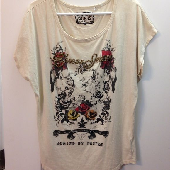Guess shirt Cream colored shirt with design and bead accents Guess Tops