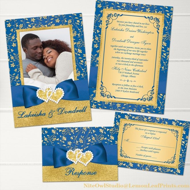 Royal Blue Wedding Invitation Cards: Royal Blue Gold Floral Joined Hearts Jewel Photo Wedding