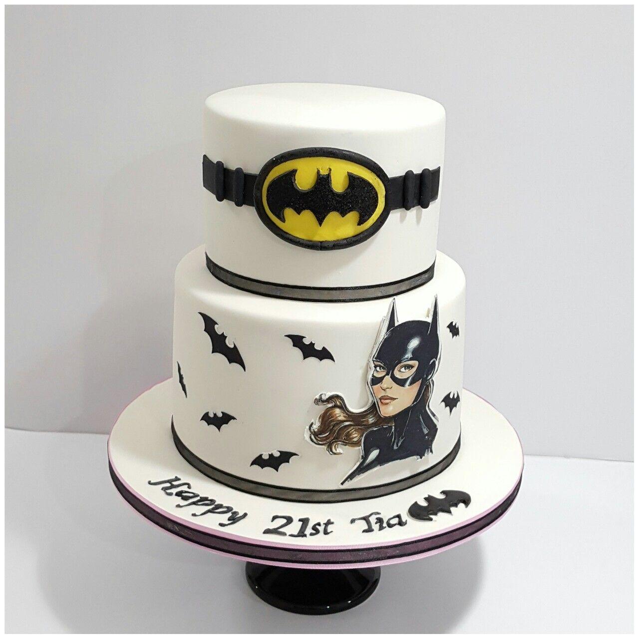 2 Tier Batgirl Batwoman 21st Birthday Cake With Edible Image