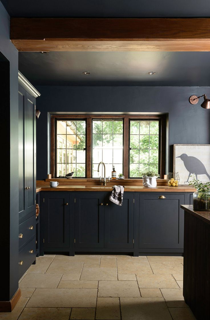 Dark kitchens that aren't so scary - Interior design kitchen, Kitchen interior, Dark kitchen cabinets, Kitchen inspirations, Dark kitchen, Wood worktop - The witching hour is upon us and we start to think of all that is dark and spooky, however not all that is dark