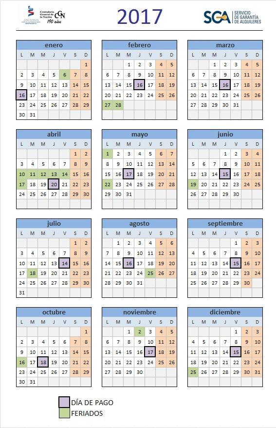 Calendario de Pagos a Arrendadores 2017   pagos CGN   Pinterest
