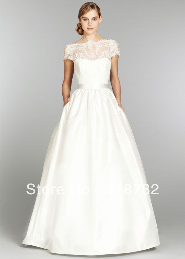 Beautiful High Neck Low Back Wedding Gown Satin A Line Floor Length