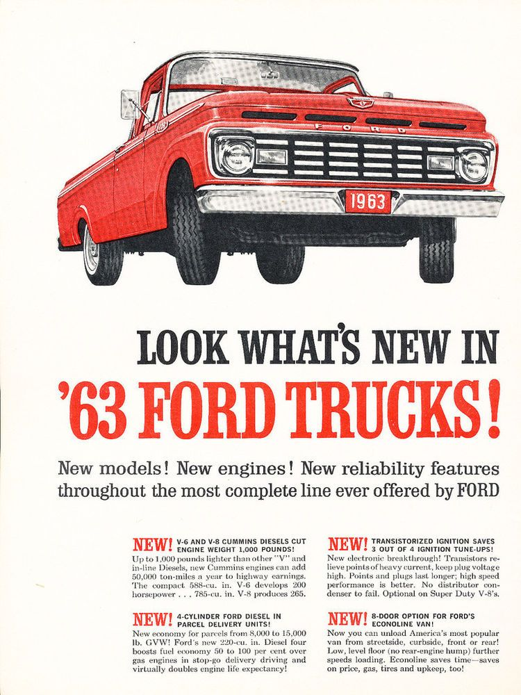 1963 Ford Truck 2 Page Original Car Advertisement Print Ad J222