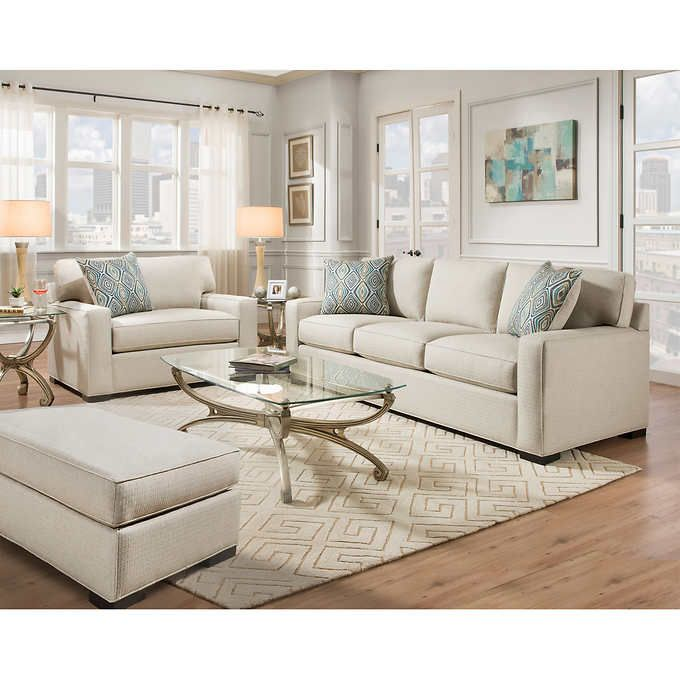 Rosemont 3 Piece Fabric Set Off White Living Room Sets White Furniture Living Room White Fabric Sofa
