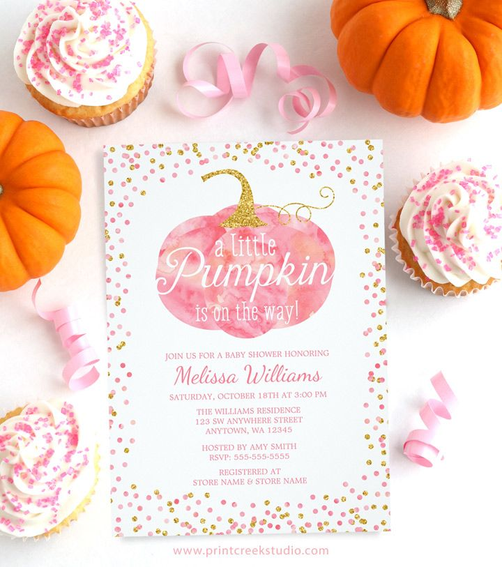 Pink and Gold Fall Pumpkin Baby Shower Invitations | Pumpkin baby ...