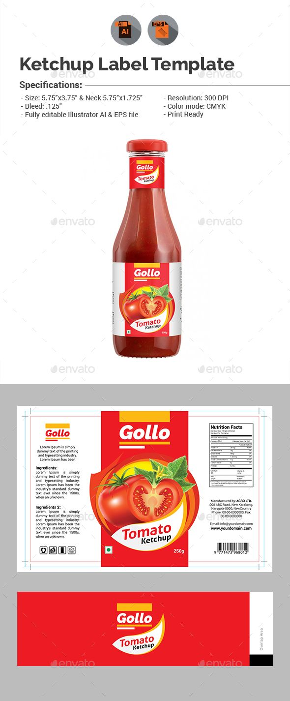 Ketchup Label Template | Ai illustrator, Template and Packaging design