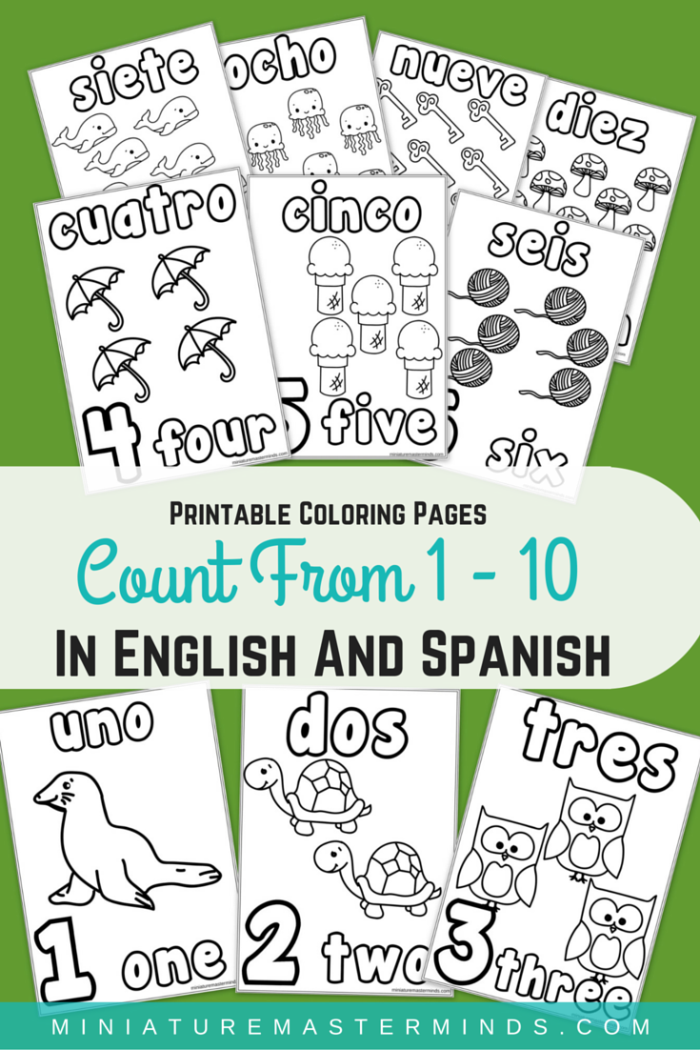 printable coloring pages counting 1 10 in english and spanish