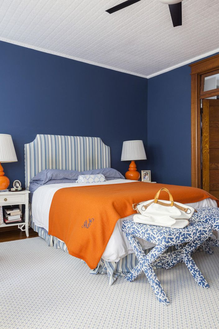 Navy Walls Striped Headboard Bedroom Orange Blue Bedroom