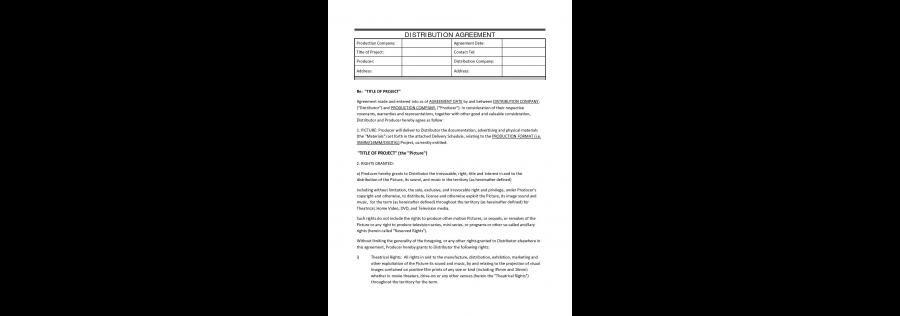 Film Distribution Agreement Film Distribution Film Funding Film