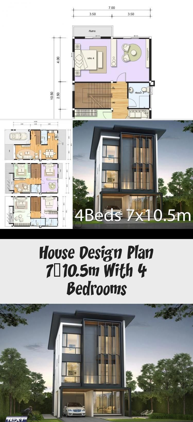 House Design Plan 7x10 5m With 4 Bedrooms Home Design With Plansearch Littlehousedesign Industrialhouse In 2020 Home Design Plans House Design Classic House Design