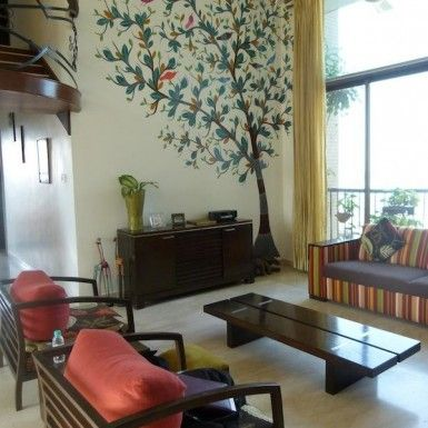 interior design of living room in india modern wall units traditional indian home color decorating architect gond art handicrafts