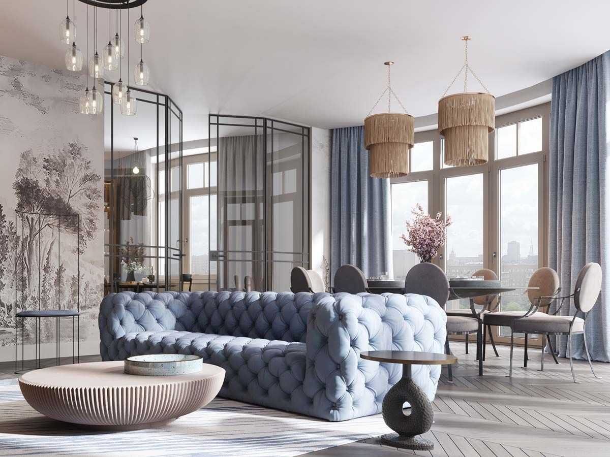 A Luxurious Home Interior With Pretty, Muted Pastel Colors