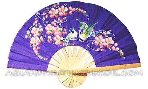 Asian Wall Decor oriental wall decor, oriental hand painted wall fan, asian wall